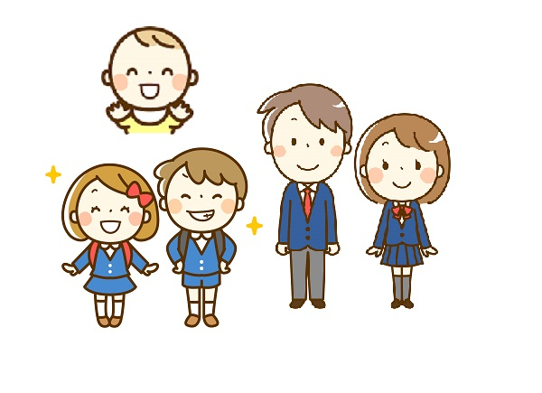 アイキャッチ画像(赤ちゃん、小学生、学生)